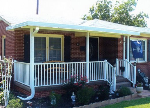 White patio cover with handrails near Greenwood, SC