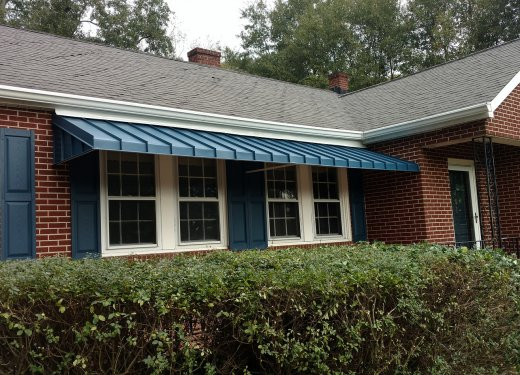Blue standing seam awning in Anderson, SC